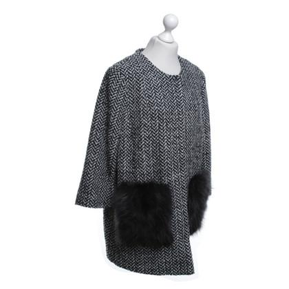 Steffen Schraut cappotto di tweed con bordo in pelliccia
