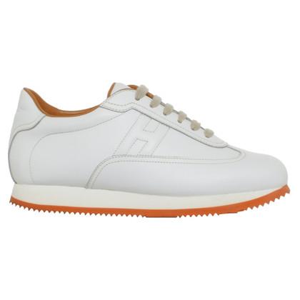 Hermès chaussures de sport en cuir en blanc