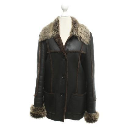 René Lezard Lambskin jacket in dark brown