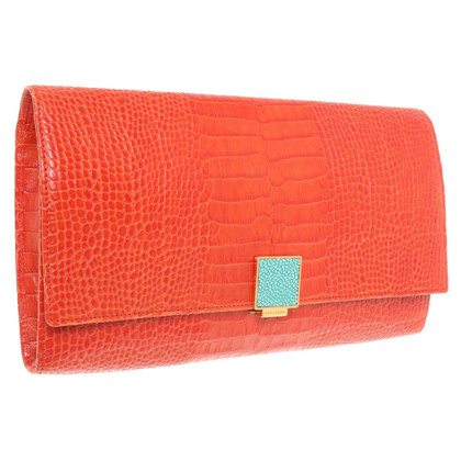Smythson clutch in het rood