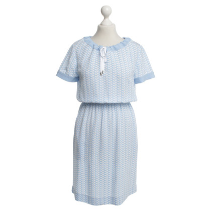 Escada Dress in light blue / white