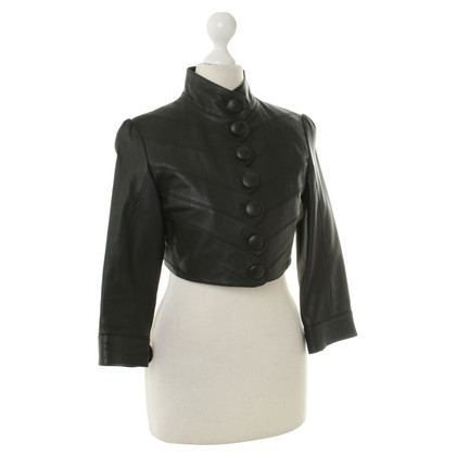 Gestuz Leather Bolero in black