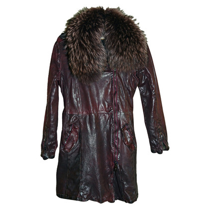 Giorgio Brato Leather coat with fur collar