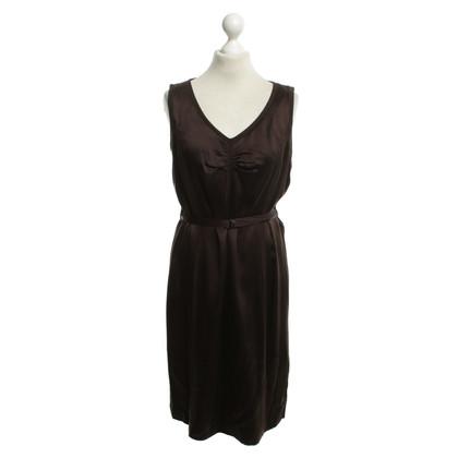 Luisa Cerano zijden jurk in Bruin