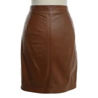 Bruuns Bazaar Leather skirt in Cognac
