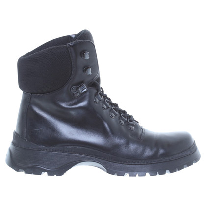 Prada Black leather cord boots