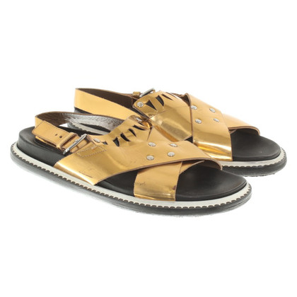 Marni Gold-colored leather sandals
