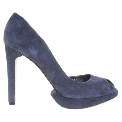 Hugo Boss Suède Peeptoes in blauw