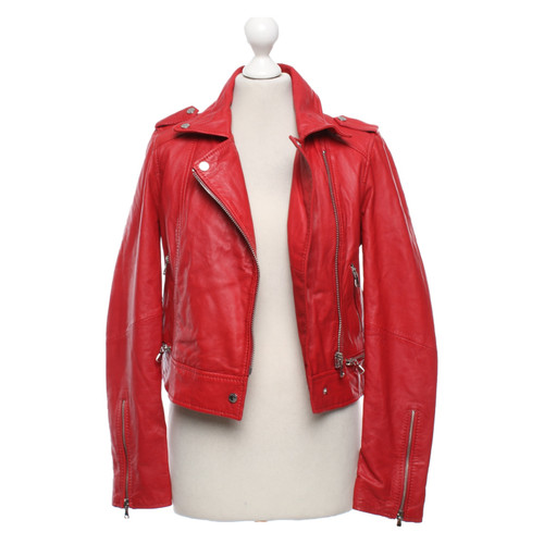 Hedendaags Oakwood Leather jacket in red - Second Hand Oakwood Leather jacket KP-78