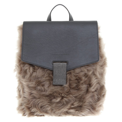 Brunello Cucinelli Fur/leather backpack
