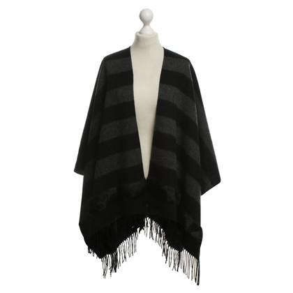 Riani Cape con pelliccia in nero e grigio
