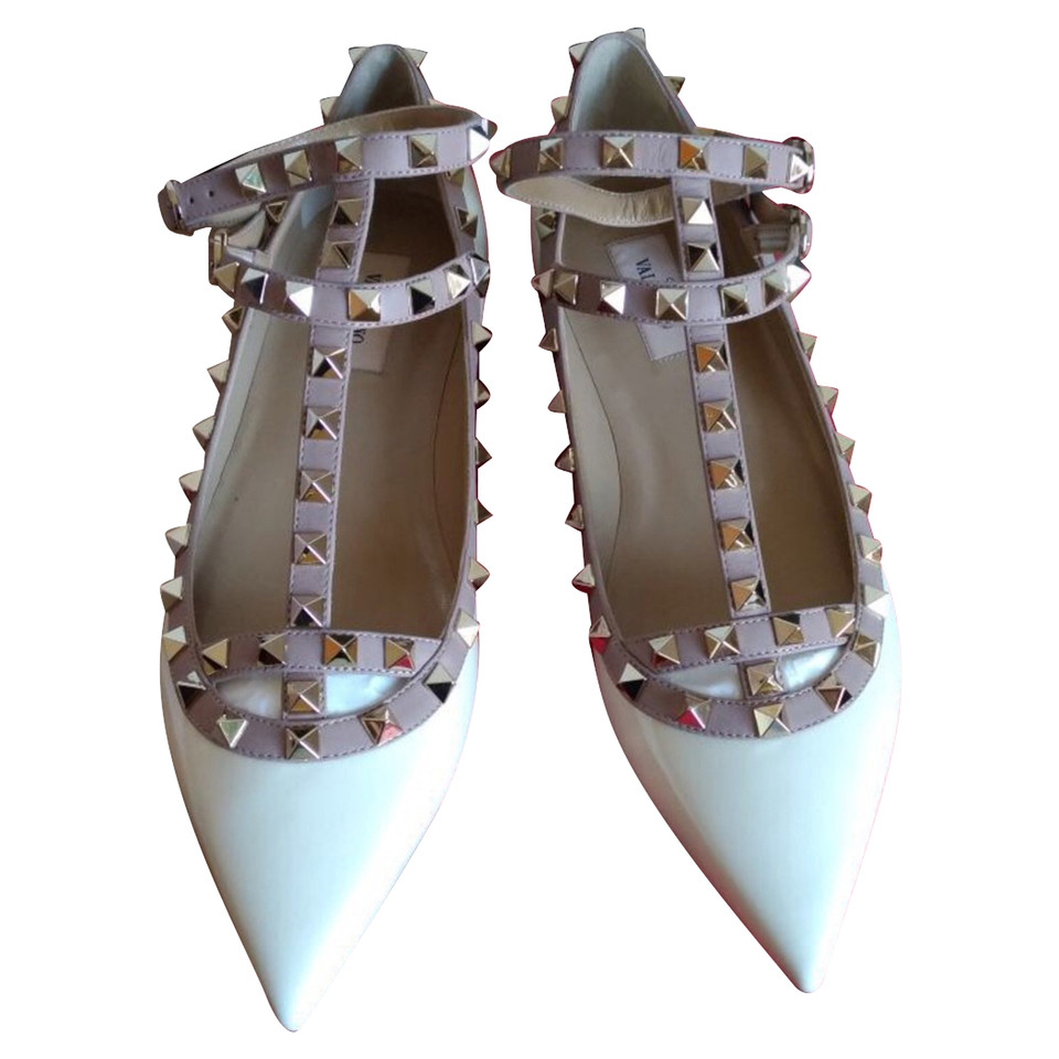 Valentino Rockstud Ankle Strap in Cream