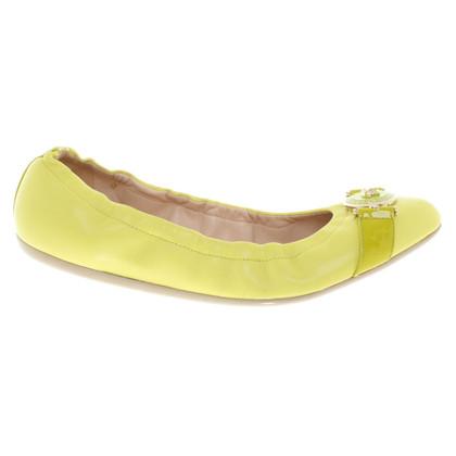Versace Ballerinas in citrus yellow