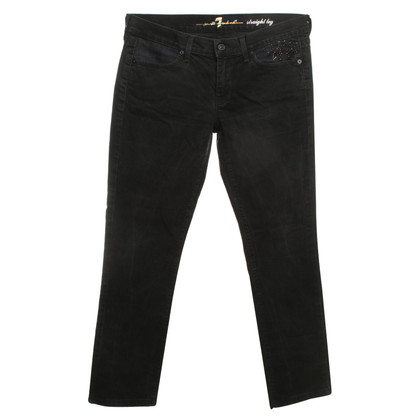 7 For All Mankind Black jeans with embroidery