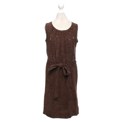Marc Cain Leather dress in dark brown