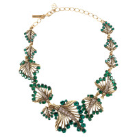 Oscar de la Renta Gold & Crystal Leaf Necklace