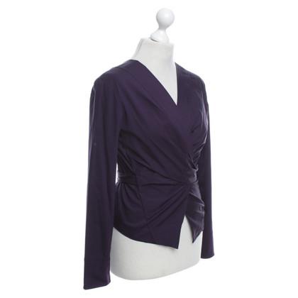 Donna Karan Eggplant colored wrap-around blouse