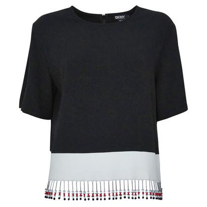 Donna Karan Bluse in Schwarz/Weiß