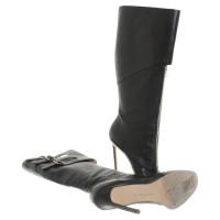 Manolo Blahnik stivali di pelle con bar decorativo