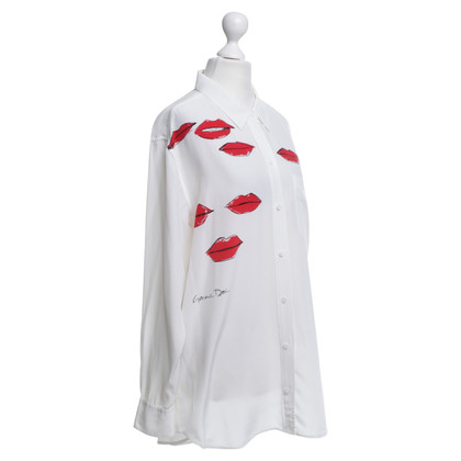 Equipment Seidenbluse mit Lippen-Print
