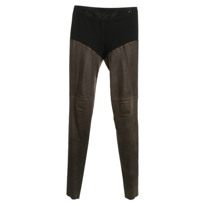 Marc Cain Lederleggings in Taupe/Schwarz