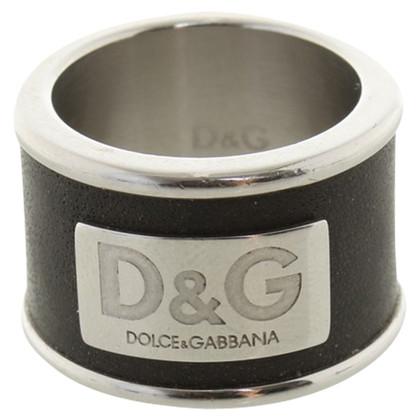 Dolce & Gabbana Ring mit Leder-Besatz