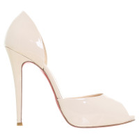 Christian Louboutin Peep-toes in cream-coloured patent leather