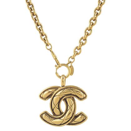 Chanel Goudkleurige ketting met logo-hanger