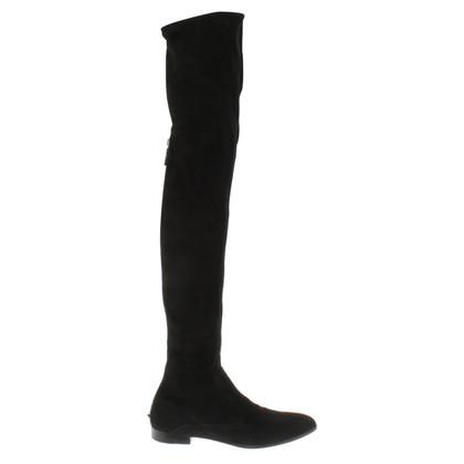 Prada stivali al ginocchio in pelle scamosciata