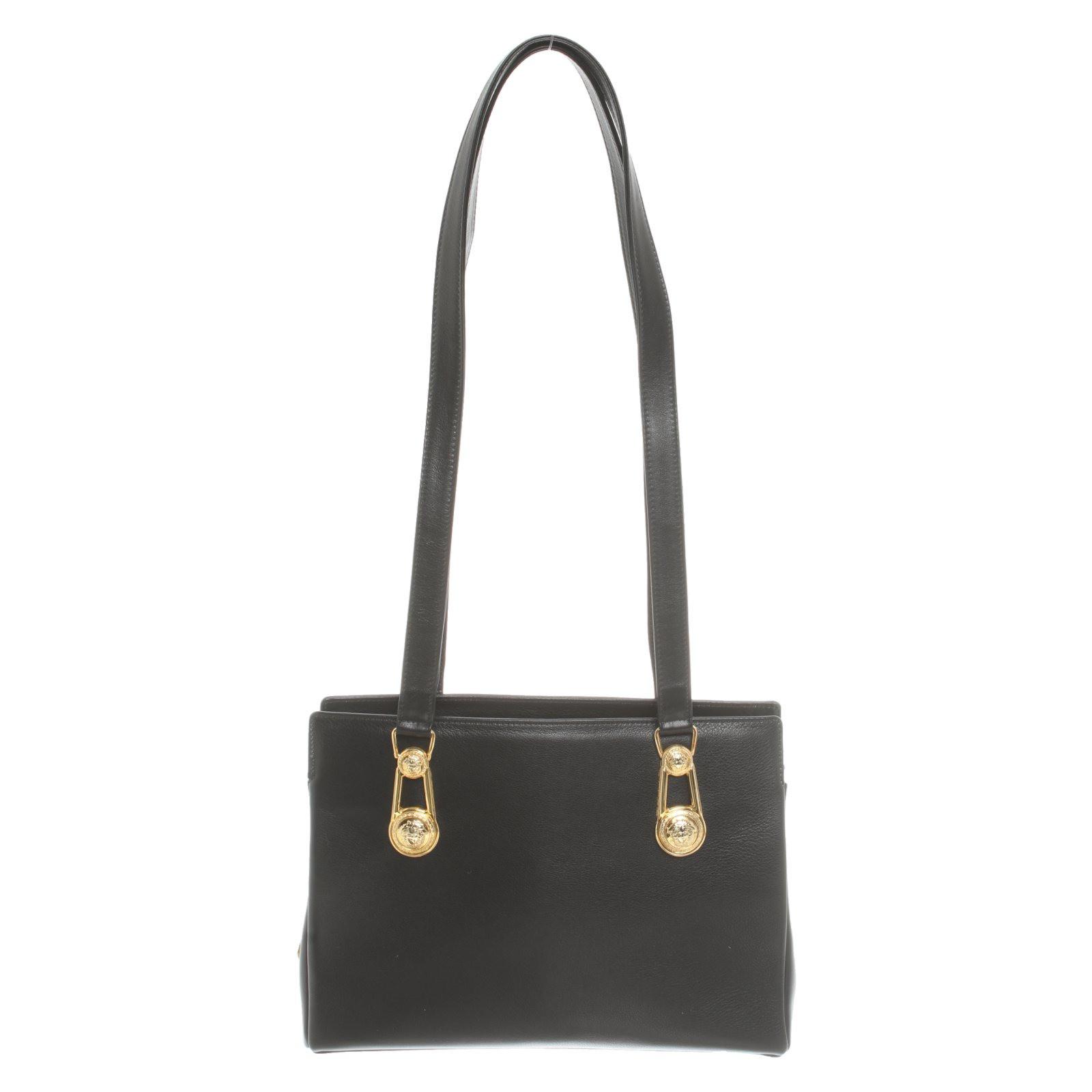 Gianni Versace Handbag Leather in Black