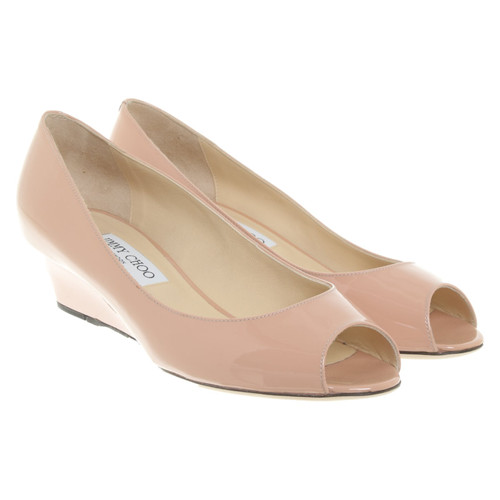 5ec10794d90346 Jimmy Choo Wedges Patent leather in Nude - Second Hand Jimmy Choo ...