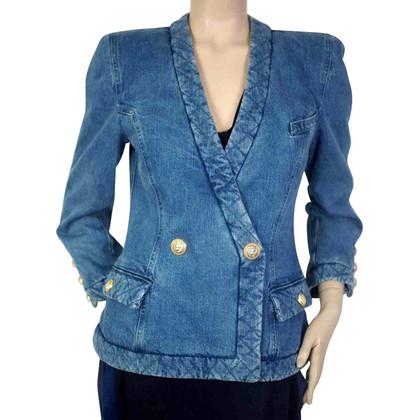 Balmain Giacca sportiva di jeans in blu