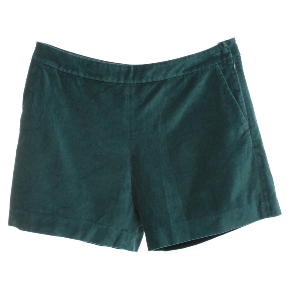 Claudie Pierlot Velvet Shorts in Green