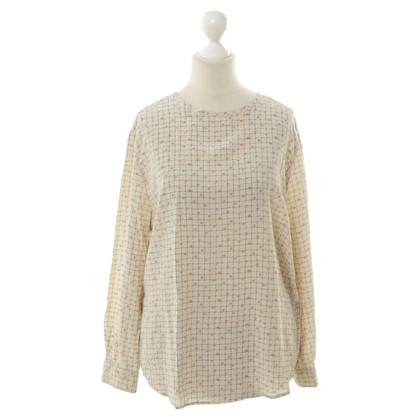 Cerruti 1881 Silk blouse in cream with Karoprint