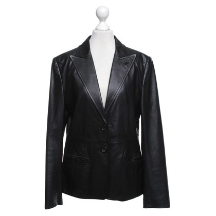René Lezard Leatherblazer in black