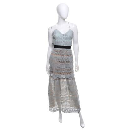 Self-Portrait Kanten jurk in mintgroen
