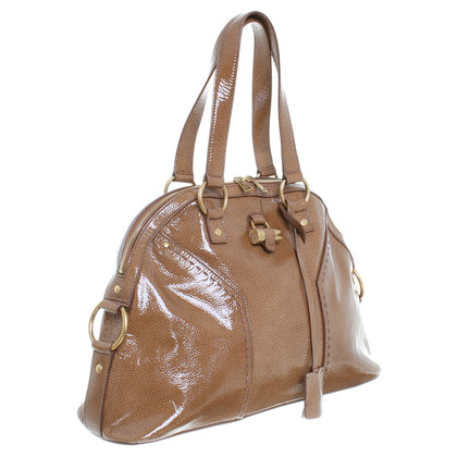 Yves Saint Laurent Patent leather handbag in Brown