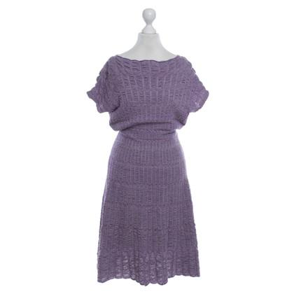 Missoni Gebreide jurk in paars / grijs