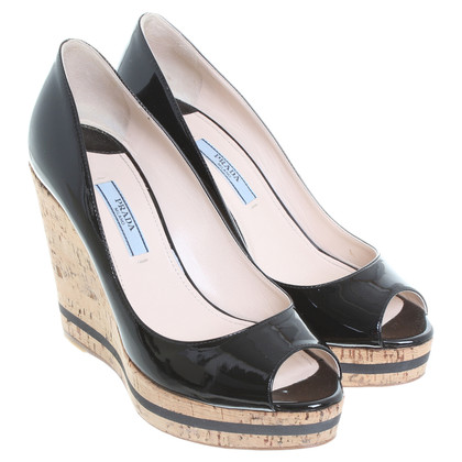 Prada Verf Wedges in zwart