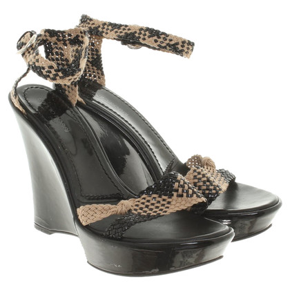 Sergio Rossi Wedges in beige / black