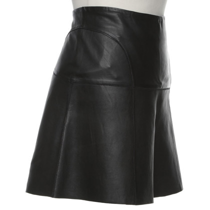 Reiss Leather skirt in black
