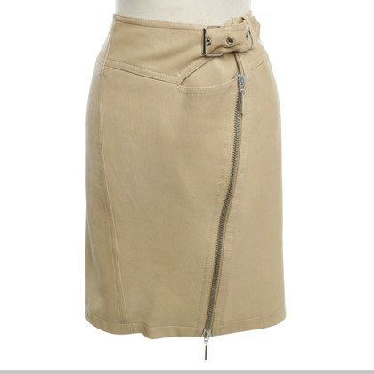 Plein Sud Leather Skirt in Beige