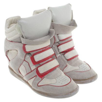 Isabel Marant Sneakerwedges in Beige/Rot