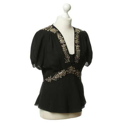 Alice By Temperley Geborduurde tuniek blouse in zwart
