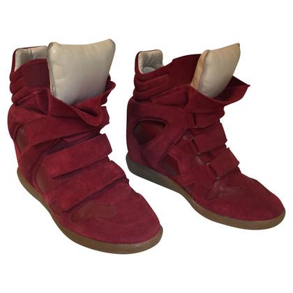 Isabel Marant Etoile Bekett in pelle scamosciato di sneakers zeppa