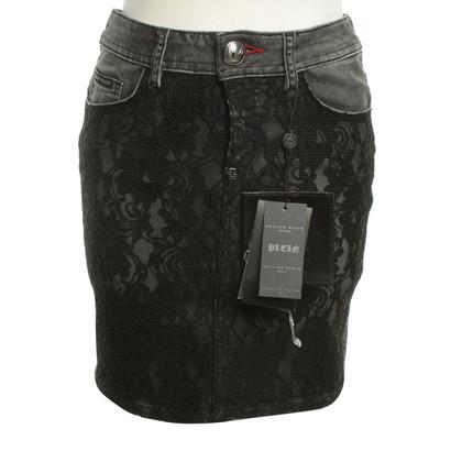 Philipp Plein Jeans skirt in black
