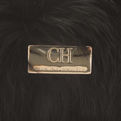 Carolina Herrera Clutch mit Kaninchenfell Schwarz Offizielle Seite 6mA7lb