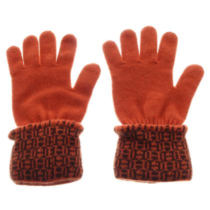 Hermès Guanti in cashmere arancione