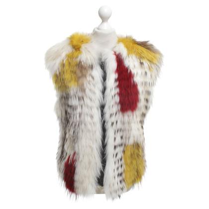 BCBG Max Azria Fur vest in cream / multicolor