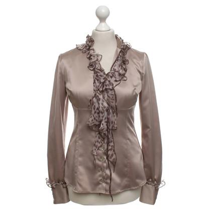 Roberto Cavalli Satijnen blouse in taupe